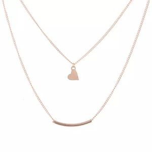 4 for $25 heart curved tube layered necklace